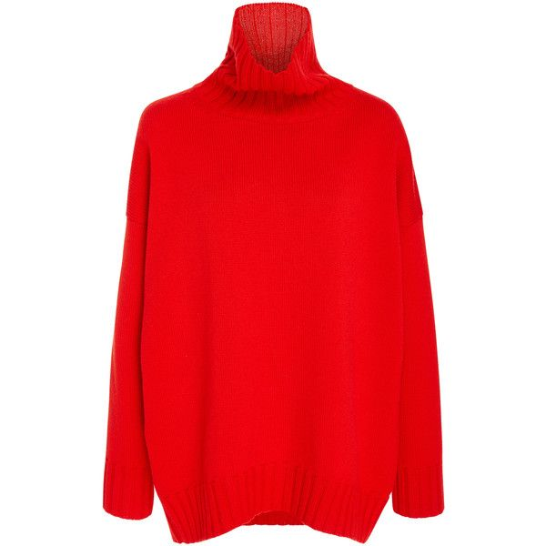 Oscar de la Renta Turtleneck Sweater ($1,290) ❤ liked on Polyvore featuring tops, sweaters, red, long sleeve turtleneck, boxy turtleneck sweater, red top, red long sleeve top and turtleneck sweater