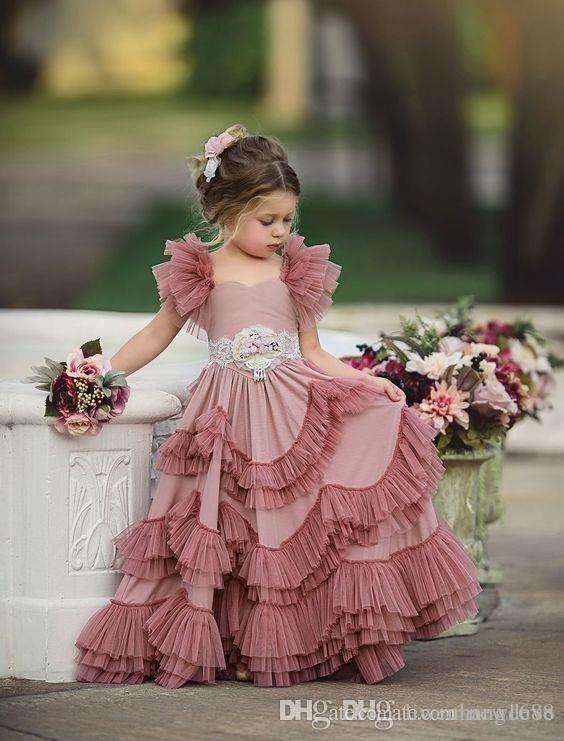 Capped Sleeves Flower Girls Dresses For Weddings Tiered Kids Prom Gowns Lace Girls First Holy Communion Dress