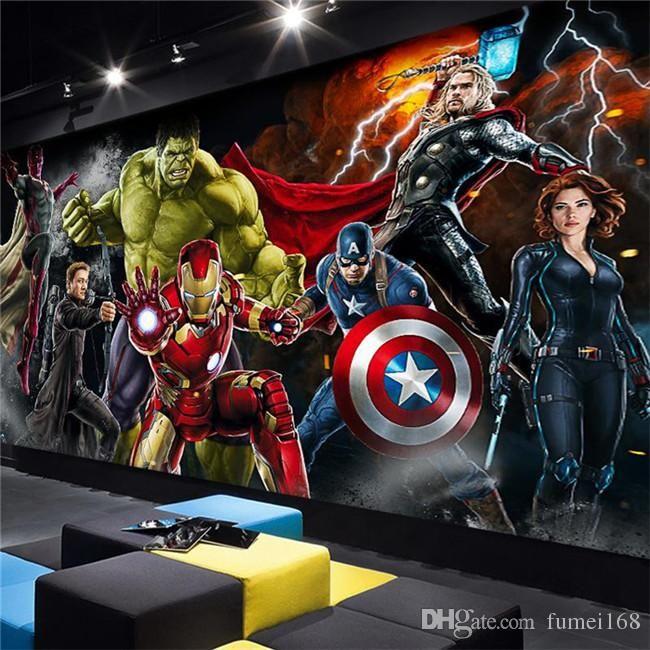 Avengers Photo wallpaper Custom 3D wallpaper for walls Hulk Iron man Captain America Wall mural Boys Bedroom Living room Restaurant Designer