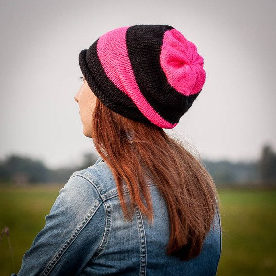 Neon Pink Black Striped Slouchy Beanie Hat / Knit by RUKAMIshop
