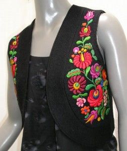 kalocsa embroidery | ... Kalocsa Embroidery, Short Black Wool Vest hand embroidered, Ethn