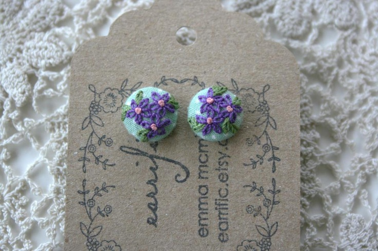 Hand Crafted Embroidered Textile Earrings
