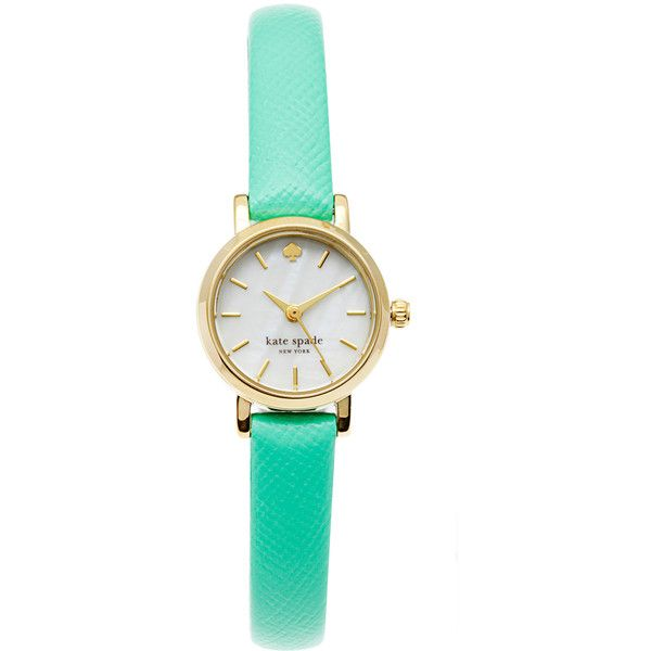 kate spade New York Women's 1YRU0368 Tiny Metro Mint Watch (4,705 DOP) ❤ liked on Polyvore featuring jewelry, watches, mint watches, gold plated watches, bezel jewelry, gold plated jewellery and kate spade jewelry