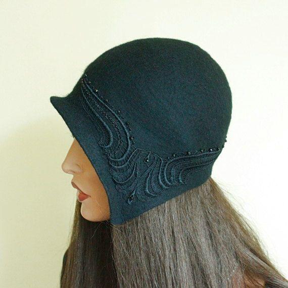 Black hat Great Gatsby Size 21 Black cap decorated от ZiemskaArt