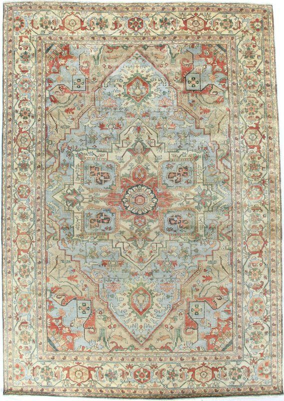 2259 99 6x9 Serapi Hand Knotted Wool Light Blue Ivory Area Rug Rugs On Carpet Exquisite Rugs Area Rugs