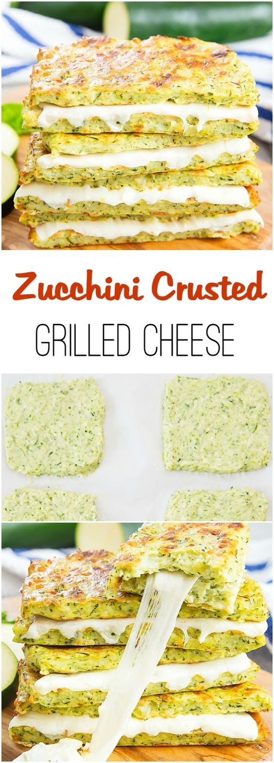 Zucchini Crusted Grilled Cheese Sandwiches. An easy and delicious low-carb…