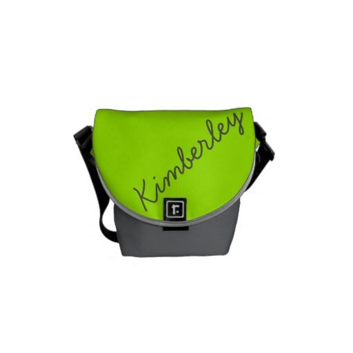 Bright Neon Green Monogram Trendy Fashion Colors Messenger Bag