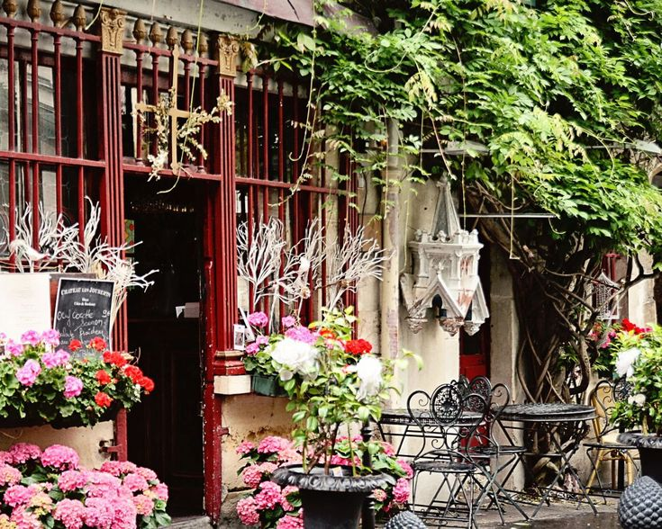 Photography Paris France - French Decor - Cafe Photograph - Parisian Romantic Photo - Colorful Home Decor - Pink Green Red - Wall Art. $30.00, via Etsy.