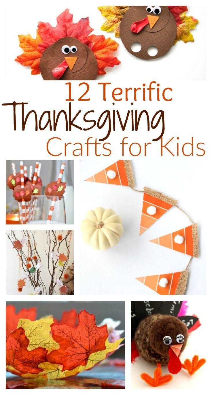 From turkey decorations to DIY autumn leaf bowls, you will find something for everyone in this list of 12 terrific Thanksgiving crafts for kids!