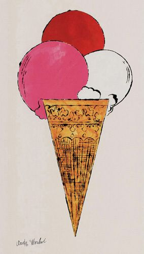 Ice Cream Dessert, c. 1959 (red, pink and white) by Andy Warhol