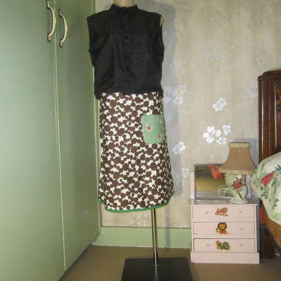 A Line Skirt Fuzzy Dots Vintage Polished Cotton by byShoebridge