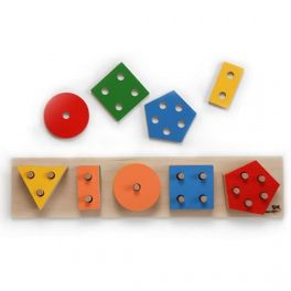 Educational puzzle, which develops children's  visual-motor coordination, teaches them the names of geometric shapes and counting. Children's task is to put various geometric figures on the pegs fixed on the basis. Made by Neo-Spiro.