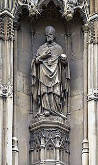 Anselm of Canterbury - was a Benedictine monk, abbot, philosopher and theologian of the Catholic Church, who held the office of archbishop of Canterbury from 1093 to 1109. After his death, he was canonized as a saint; his feast day is 21 April.