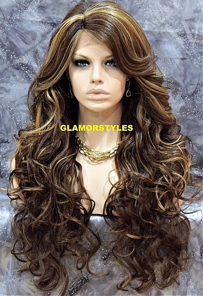 Human Hair Blend Long Wavy Brown Blonde
