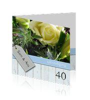robijnen bruiloft jubileum kaarten 40-jaar roos pastel kleuren met grijs hout. http://mycards.nl/uitnodigingen/jubileum-kaarten-40-jaar