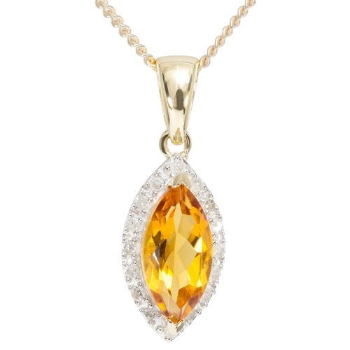 9ct Yellow Gold Marquise Citrine  Diamond Halo Pendant $96 - purejewels.com.au