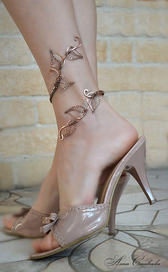 anklet - anklet bangle - body jewelry - foliage -  leg bracelet - ankle jewelry - silver jewellry - copper jevelry