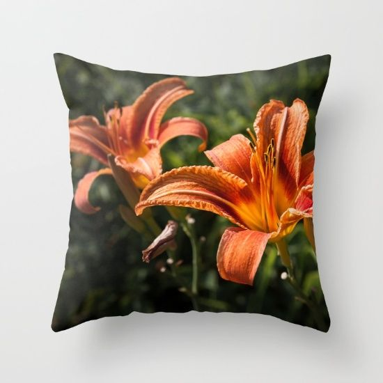 Orange Yellow Fire Lily Throw Pillow by #PLdesign #FlowerGift #Flowers #Spring