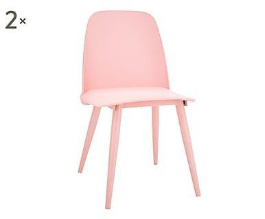 CANDY SCANDY Set di 2 sedie in betulla e plastica rosa, 55x70x63 cm
