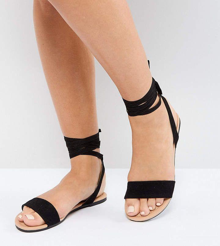 ab4938d936df Asos Fiola Wide Fit Tie Leg Flat Sandals