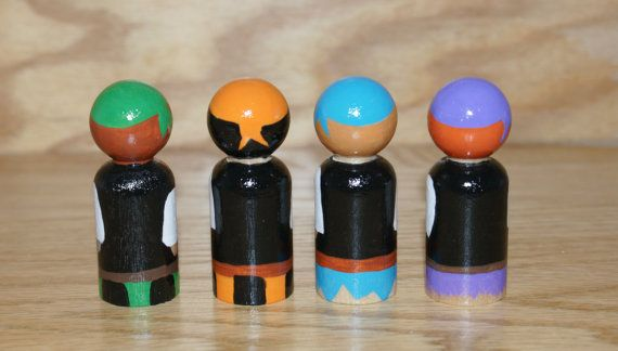 This listing is for 4 wooden Pirate Peg Dolls (2.375 tall). The dolls are painted using acryIic paint and then coated with a gloss varnish to protect the finish. Please allow 7 days for painting as these are detailed. Because these dolls are hand-painted and made-to-order, the dolls you