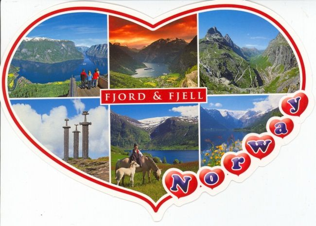 fjords and mountains - die cut heart