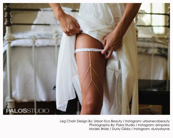 Couture Garter Layered Leg Chain Body Jewelry Belt Wedding Accessory Sterling Silver Or Gold Filled