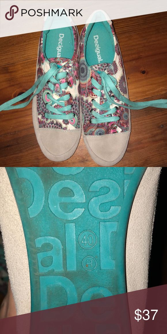 Worn twice tennis shoes from Europe! super cute just don't fit!! Desigual Shoes Sneakers