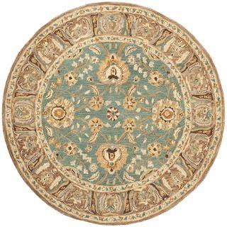 Safavieh Hand-made Anatolia Teal/ Camel Wool Rug (6' Round)