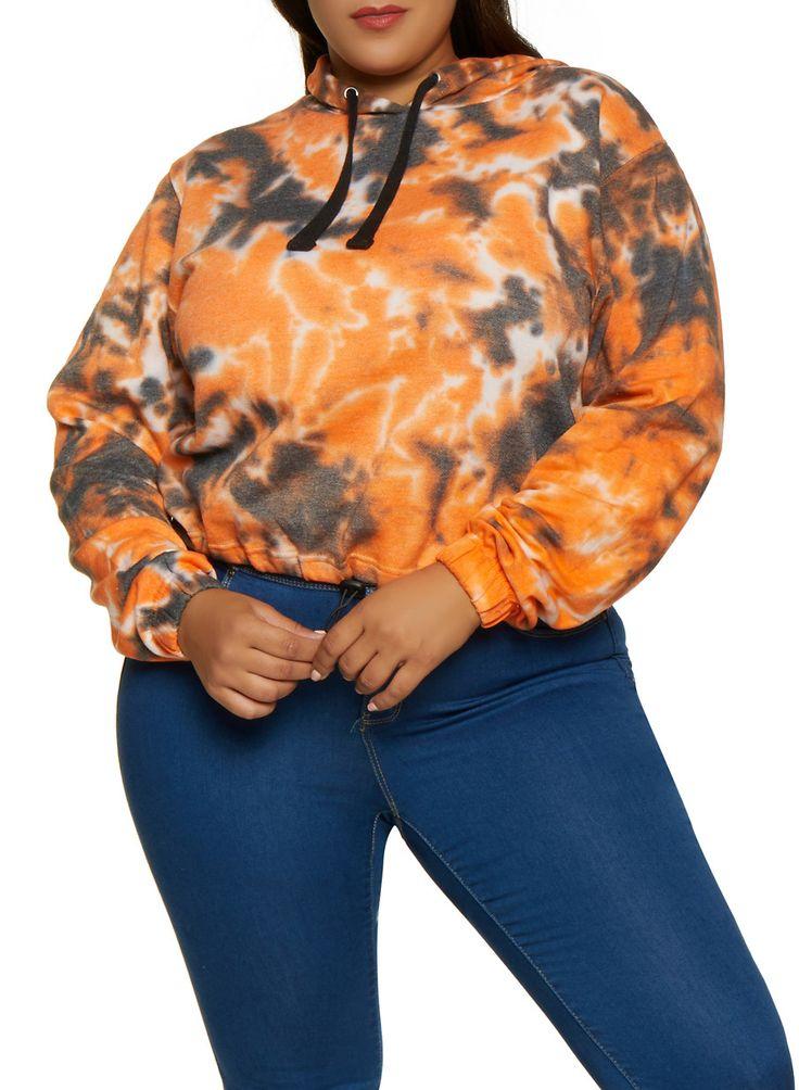 Plus Size Tie Dye Hooded Sweatshirt – Multi – Size 2X