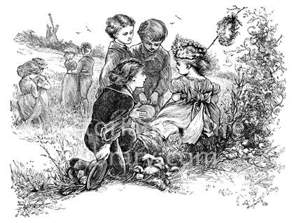 Queen of the May. Victorian illustration showing a picture of three little boys paying homage to the little girl who is Queen of the May. She wears her best dress and a wreath of flowers, and carries a garland on a stick; she sits on a log at the edge of a meadow. Download high quality jpeg for just £5. Perfect for framing, logos, letterheads, and greetings cards.