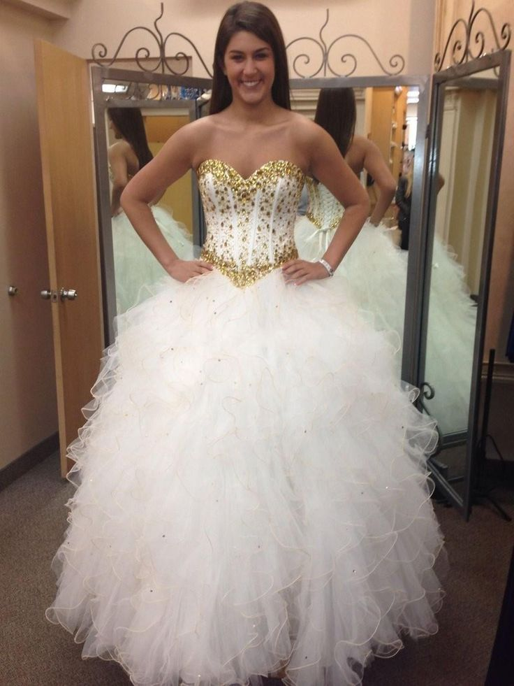Cheap Long Puffy Quinceanera Dresses 2016 White And Gold