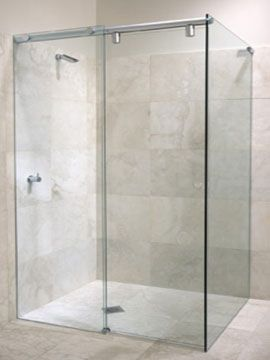 Curbless Shower With Sliding Glass Door Bath