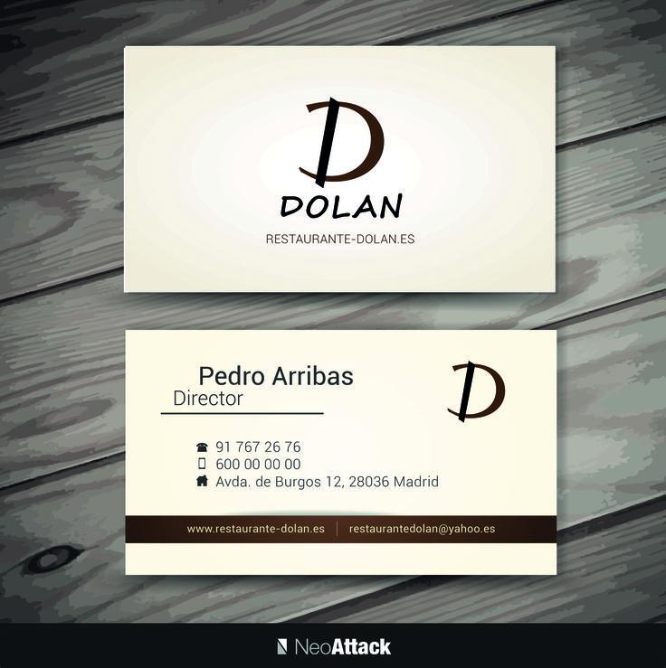 Diseño de tarjetas de visita corporativas al restaurante Dolan. Realizado por NeoAttack