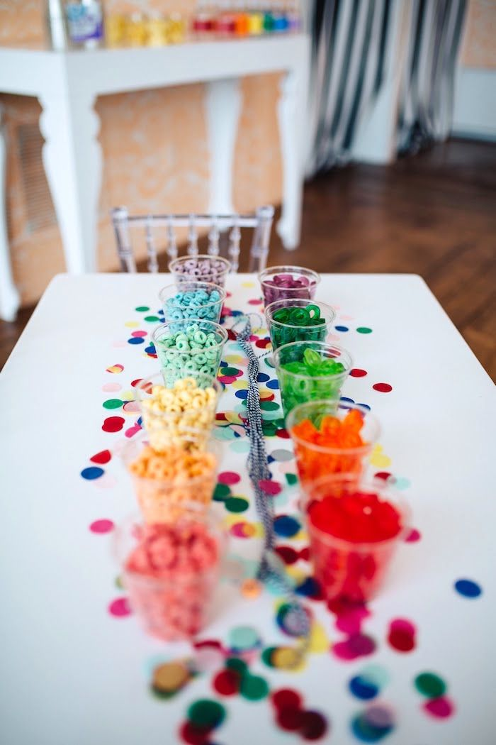 """Candy necklace table from a """"Color me Happy"""" Art Party for Kids on Kara's Party Ideas 