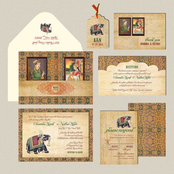 Indian Wedding Invitation: The Mughal Collection - Gatefold Invitation inspired by the Mughal Paintings of the Kings and the Queens on Etsy, $2.65