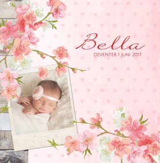 Lief geboortekaartje met hartjes achtergrond, bloesem bloemen en foto. Gebruik deze kaart en maak hiervan zelf je eigen persoonlijke geboortekaartje. Wil je de kaart door ons laten opmaken? Geen probleem, wij helpen je graag!