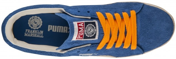 Imperial blue Franklin & Marshall Puma #Clyde #sneakers with orange laces