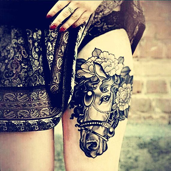 1pcs Floral Horse Big temporary tattoo ***  fake tattoo body art large tattoo