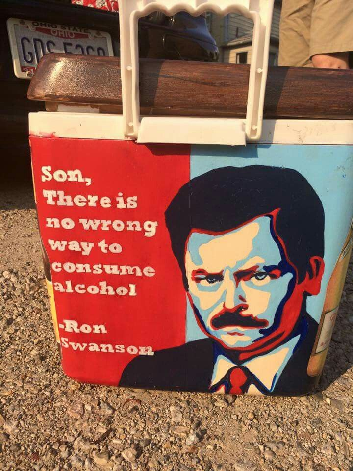 Ron Swanson quote son there is no wrong way to consume alcohol parks and rec parks and recreation cooler side