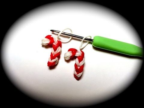 Candy Cane Rubber Band Charm Without the Rainbow Loom - YouTube