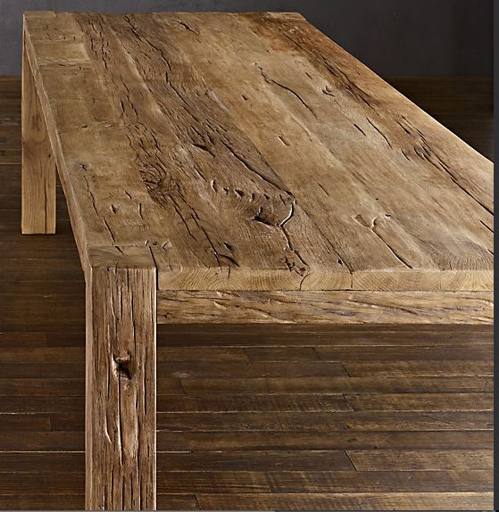Parsons Reclaimed Russian Oak Dining Table $2495 Handcrafted of solid reclaimed white
