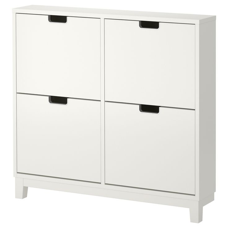 STÄLL Shoe cabinet with 4 compartments - white - IKEA. - not that he would ever put his shoes in it - but this nice storage!
