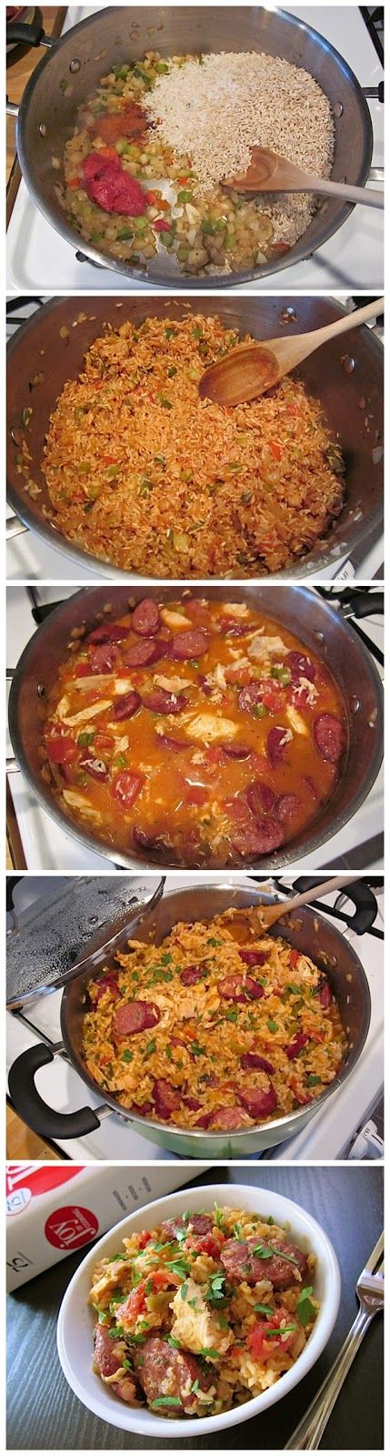 Jambalaya: 1 lb cooked chicken, 1 lb smoked sausage, 4 cloves garlic, 12 oz seasoning mix (onion , bell pepper,celery),  2 C long grain rice,1/2 -1 tap cayenne pepper, 2tbsp tomato paste,31/2 C water, 2 bay leaves&1 can dices tomatoes,1/2tsp dried thyme, parsley