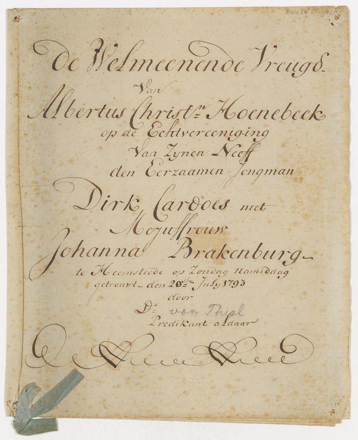 Aankondiging van het huwelijk van D. Cardoes en Johanna Brakenburg 20 juli 1793
