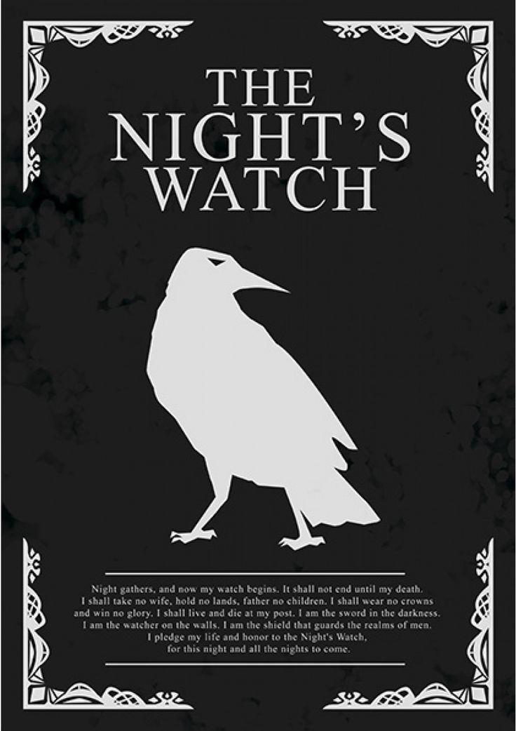 The Night's Watch - Game of Thrones - Ficção/Fantasia - Séries | Posters Minimalistas