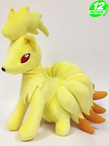 Pokemon Ninetales Plush Ninetales is an intelligent and powerful Pokemon, resplendent with its tails and gleaming red eyes. Vulpix's evolution is the latest addition to our Pokemon plush range.