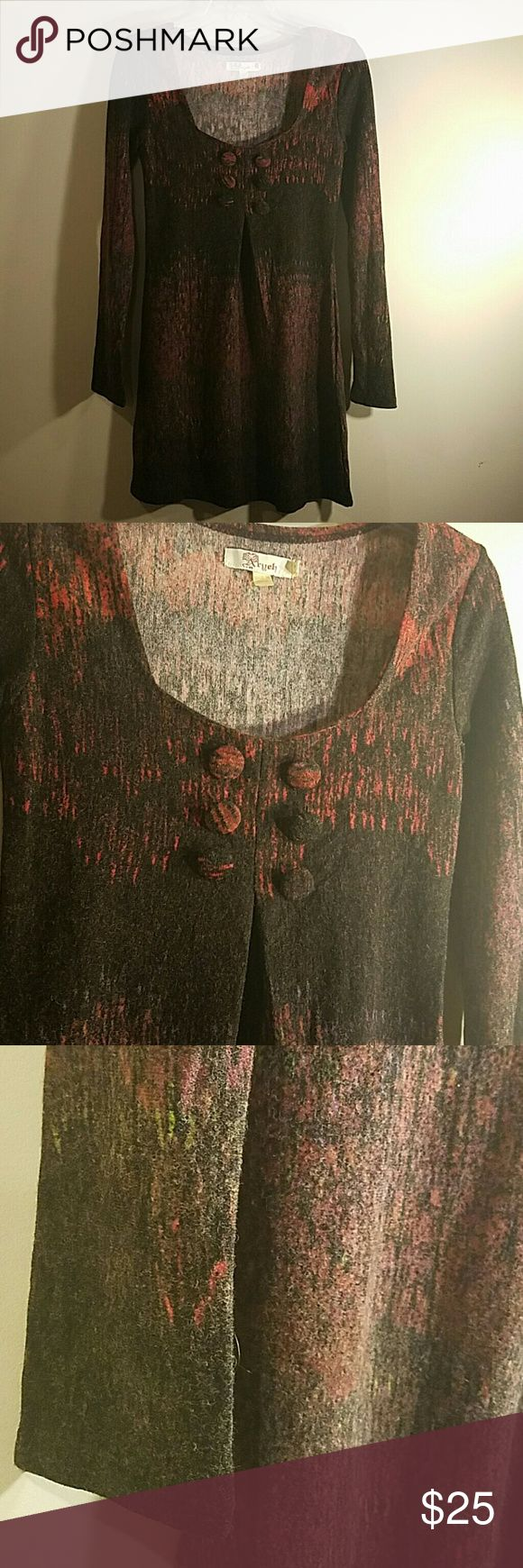 Anthropologie Aryeh Sweater Dress Stunning wool Anthropologie Aryeh Dress. Size small. This is a pleated front with faux buttons.  Red and black pattern.   Midi length.  Bust 32 Waist 29 Anthropologie Dresses Long Sleeve