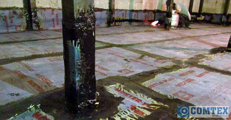 Impermeabilizador executando arremate de rodapé e pilares em estrutura metálica, utilizando maçarico GLP.  #Impermeabilizador #MantaAsfaltica #Macarico