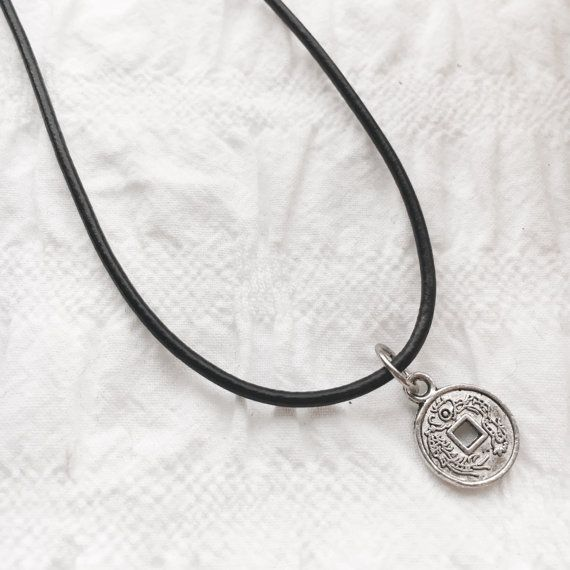 Lucky coin leather necklace tibetan silver by JunkboxCouture